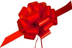 Large Red Ribbon Pull Bows for Christmas Gifts – 9″ Wide, Set of 6