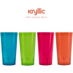 Plastic Tumblers Drinkware Glasses Cups – Acrylic Tumbler Set of 4 Break Resistant 20 oz.  ...
