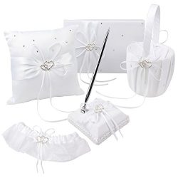 OurWarm 1 Wedding Guest Book + 1 Pen Set + 1 Flower Girl Basket + 1 Ring Pillow + 1 Garter White ...
