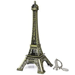 SiCoHome Eiffel Tower 7.0 inch Bronze Paris Small Eiffel Tower for Room Decor,Cake Topper,Gifts, ...
