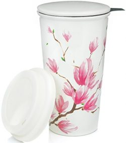 Ceramic Travel Mug with Lid. Magnolia Double-Walled Tea Cup with Tea Infuser and Bonus Silicone  ...