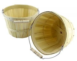 Half Peck Round Wooden Baskets (2-Pack); Natural Wood Fruit & Vegetable Picking Basket with  ...