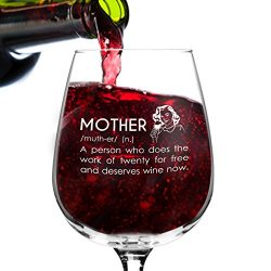 Mother Definition Funny Mom Wine Glass – 12.75 oz. – Humorous Novelty Valentine̵ ...