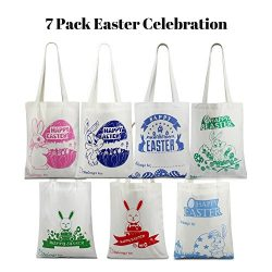 [HUGE SAVING LIMITED OFFER] 7 Pack Easter Bag Bunny Canvas Bag With Bunny Easter Egg Hunt Design ...