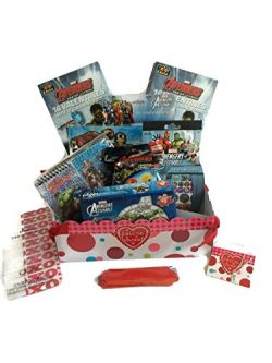 Boys Avengers Valentines Day Gift Basket With Valentines Cards Bundle: 10 Items: Avengers Puzzle ...