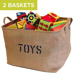 2 Jute Toys Storage Bins 17 inches long Storage Baskets, Storage Basket for organizing Baby Toys ...