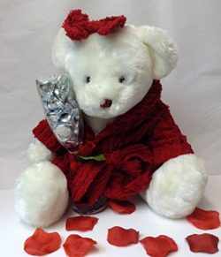 Valentine's Day Teddy Bear With Champagne Flute Glass Filled With Hershey's Chocolat ...