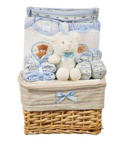 """Big Oshi Boys """"Teddy Bear Basket"""" 10-Piece Gift Set – blue, 0 – 6 months"""