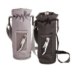 True Grab N' Go Insulated Bottle Carrier, 12.5″, Gray/Black