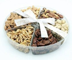 The Chocolate Bar Freshly Roasted Holiday Nuts Gift Basket, Kosher Nut Gift Tray 6-section Mediu ...
