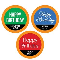 HAPPY BIRTHDAY Single Serve Coffee Variety K-Cups – 24 Cup Gift Box With 3 Gourmet Coffee  ...