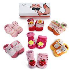 Haley Clothes Newborn Baby Anti-Slip Socks Toddler Non-Skid Socks for Kids (7 Pairs/Box Baby Gir ...