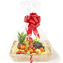 """10 pack Clear CELLOPHANE Bags GIFT BASKET Packaging Bag, Flat with """"AIR-FREE Wrapping Solu ..."""