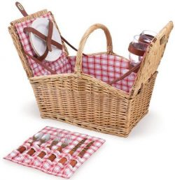 Picnic Time Piccadilly Willow Picnic Basket for Two People, with Plates, Wine Glasses, Cutlery,  ...