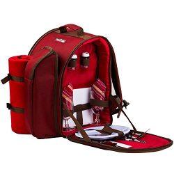 Ferlin Picnic Backpack for 2 With Cooler Compartment, Detachable Bottle/Wine Holder, Fleece Blan ...