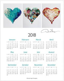 2018, Three Sea Glass Hearts One Page, Fine Art Wall Calendar. 11×14. Great For Framing. Be ...