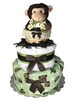 Baby Shower Gift – Diaper Cake for a Boy or Girl – Monkey in a Basket Centerpiece