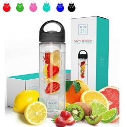 Savvy Infusion Water Bottles – 24 or 32 Ounce – Featuring Unique Leak-Proof Sealed C ...