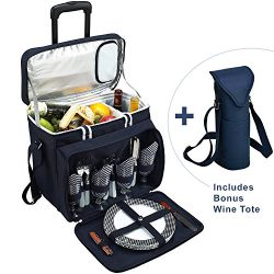 Picnic at Ascot Original Equipped Cooler on Wheels for 4 – Extra Wine Tote – Designe ...