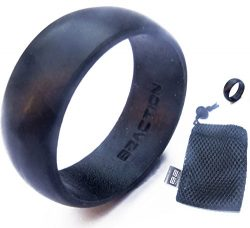 Men's Silicone Wedding Ring Band Perfect Husband Gifts From Wife – Black with Mesh B ...