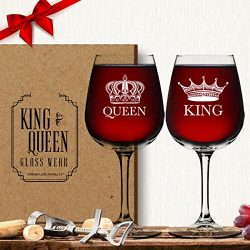 King Queen Wine Glass (Set of 2) – Couples Valentines Day Gift – His Hers – Mr ...
