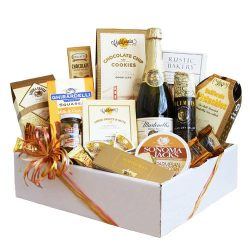 Gourmet Holiday Gift Basket | Sparkling Cider, Meat, Cheese, Nuts, Chocolate and More