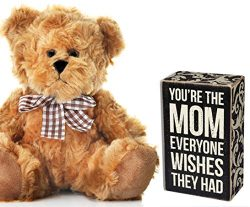 Gifts for Mom for Mother's Day Gift from Daughter or Son – Plaque and Teddy Bear for ...