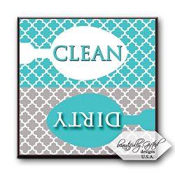 Clean Dirty Dishwasher Magnet Sign for Dishes – Elegant Quatrefoil Moroccan Trellis Modern ...