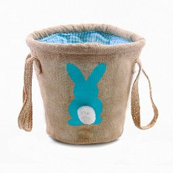 Easter Egg Basket for kids Bunny Burlap Bag to Carry Eggs Candy and Gifts (bunny blue)