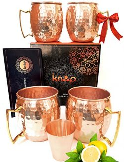 Premium Moscow Mule Mugs Set of 4, Handcrafted,, Hammered Copper Construction for Timeless, Eleg ...