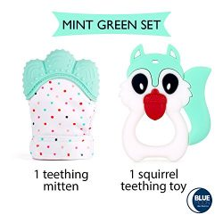 Blue Moon Teething Mitten + Teething Toy (Unicorn or Squirrel) Package, Teether Offering Soothin ...