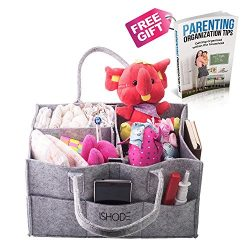 Deluxe Baby Diaper Bag Caddy Organizer By Ishode –Large Nursery Storage Basket W/ Removable Divi ...