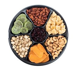 Sungood Fresh Gourmet Dried Fruits & Nuts Gift Basket, 7 Section Tray, Contains A Different  ...