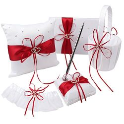 OurWarm 1 Wedding Guest Book + 1 Pen Set + 1 Flower Girl Basket + 1 Ring Bearer Pillow + 1 Garte ...