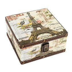 WaaHome Decorative Multicolored Jewelry Box Squre Wooden Treasure Chest Storage Box For Girls Wo ...