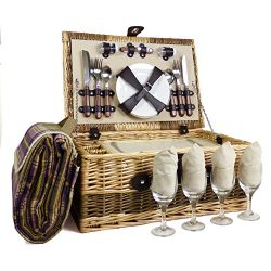The Hadrian 4 Person Wicker Picnic Basket Set includes Purple Blanket – Gift ideas for Chr ...
