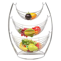3 Tier Chrome Triple Hammock Fruit / Vegetables / Produce Metal Basket Rack Display Stand – ...