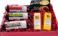 The Man's Snacker Sausage, Cheese & Cracker Gift Basket – Cheddar and Jalapeno