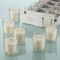 Hosley Set of 48 Unscented Clear Glass Wax Filled Votive Candles – 12 Hour Burn Time. Glas ...