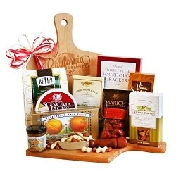 Wood Cutting Board Gift Set with Cheese, Crackers, Nuts, Cookies and More
