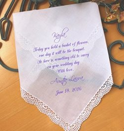 Wedding handkerchief for Flower Girl, Flower Girl Gift, wedding gift, Today you hold a BASKET of ...