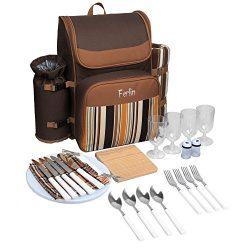 Ferlin Picnic Backpack for 4 With Cooler Compartment, Detachable Bottle/Wine Holder, Fleece Blan ...