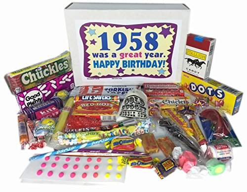 Woodstock Candy 1958 60th Birthday Gift Box Of Retro Nostalgic For A 60 Year Old