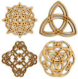 "EP Laser Celtic Ornaments 3"" Set of 4 for Decorations, Gifts or Crafts – Attach to Gift Ba ..."