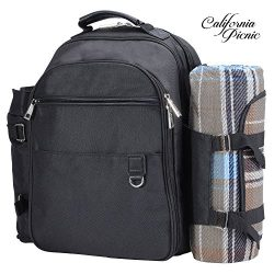 Picnic Backpack | Picnic Basket | Stylish All-in-One Portable Picnic Bag for 4 with Complete Woo ...
