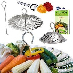 Premium Vegetable Steamer Basket – 5.5-9.3″ – Best Bundle – Fits Instant ...