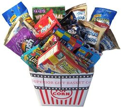Superior Gift Basket Co. Deluxe Family Movie Night Popcorn Bucket Snack Candy Peanuts Cookies Cr ...