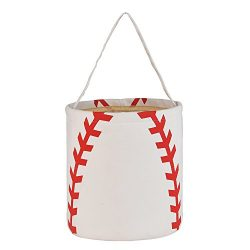 Easter Basket Cotton Easter Bunny Bags Baseball Softball Design Personalized for Kids Carrying G ...