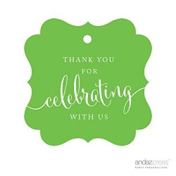 Andaz Press Fancy Frame Gift Tags, Thank You For Celebrating With Us, Kiwi Green, 24-Pack, For B ...