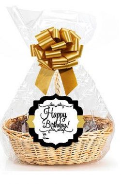 Happy Birthday 2Pack Designer Cello Bags / Tags / Bows Cellophane Extra Large Gift Basket Packag ...